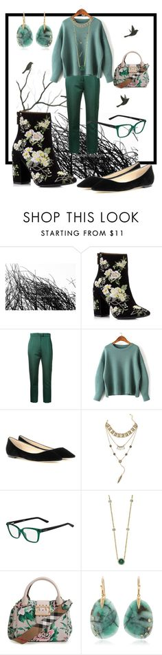 """""""the green party"""" by glasspaperscizzors on Polyvore featuring Miss Selfridge, Martin Grant, Jimmy Choo, Valentino, Effy Jewelry, Burberry, Annette Ferdinandsen, GREEN, party and fashionset"""