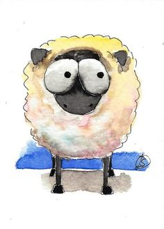 ACEO Original watercolor art painting Lucia Stewart whimsical animal sheep…