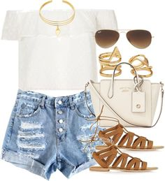 Style #10534 by vany-alvarado featuring an off shoulder crop top Topshop off shoulder crop top, 57 AUD / Button shorts, 69 AUD / Topshop flats sandals, 63 AUD / Gucci leather cross body purse, 1 305 AUD / Forever 21 ring, 6.68 AUD / Vanessa Mooney...