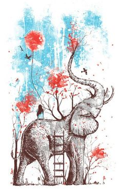 Illustration of woman on elephant and red trees #art #illustration #painting #elephant #woman #girl #tree #red #blue #gray #black #white