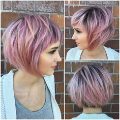 Short Messy Choppy Pink Highlighted Bob with Baby Bangs
