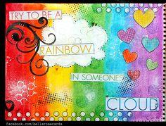 rainbow mixed media art journal