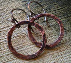 Petite Textured Copper Hoop Earrings by BalsamrootRanch on Etsy, $28.00