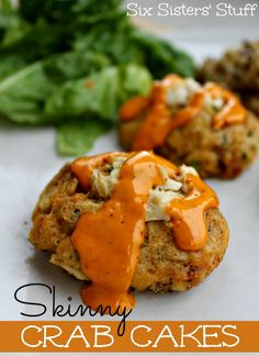 Skinny Crab Cakes _ I served them with Chipotle sauce. (I love Taco Times Chipotle sauce that you can buy at the store). One of my favorite foods is crab. I just can't get enough of it! I saw this recipe & I knew I had to try it! | Six Sisters' Stuff