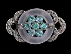 THEODOR FAHRNER (Worked from 1868-1929) GUSTAV BRAENDLE - Art Deco Brooch. Silver Spinel Crystal Marcasite. German, c. 1925. Marks 'Sterling Original Fahrner'. Fitted Case. Classic Art Deco brooch designed by Gustav Braendle for Theodor Fahrner. (hva)