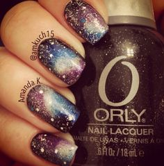 Galaxy nails using Orly Goth Nail Polish Designs, Cool Nail Designs, Fabulous Nails, Perfect Nails, Fancy Nails, Pretty Nails, Galaxy Nail Art, French Acrylic Nails, Amanda