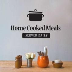 """This Cool diner wall sticker features the """"Home Cooked Meals - Served Daily"""" Quote in a beautiful typography. Vinyl wall art is a great choice for decor without long-term commitments. Enjoy adding this wall art to their kitchen or dinning areas. Home Decor Quotes, Home Quotes And Sayings, Wall Quotes, Vinyl Wall Stickers, Vinyl Wall Decals, Diner Decor, Kitchen Wall Decals, Kitchen Quotes, Dining Room Wall Decor"""