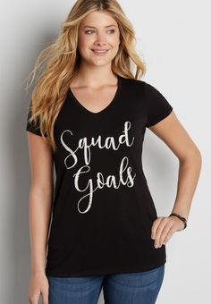 v-neck tee with squad graphic (original price, $20.00) available at #Maurices