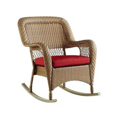 Martha Stewart Living Charlottetown Natural All-Weather Wicker Patio Rocking Chair with Quarry Red Cushion-65-517304 - The Home Depot