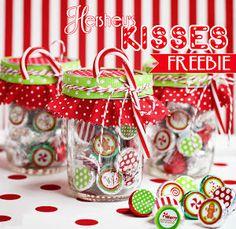 Free Christmas Hershey's Kiss Sticker & Treat Bag Topper Printable