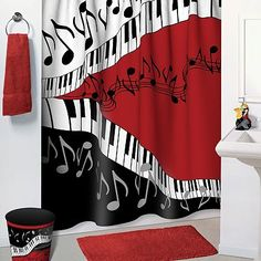 Music Notes Shower Curtain - All these are no more the less noticed accessories of your bathroom but have become one of the Music Themed Rooms, Music Bedroom, Bedroom Decor, White Bathroom Accessories, Kitchen Accessories, Black White Bathrooms, Instruments, Gamer Room, Room Themes