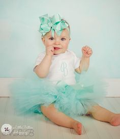 Aqua Tutu for Baby with Monogrammed Initial Bodysuit Set For New Baby Gift, Birthday or Photo on Etsy, $44.00