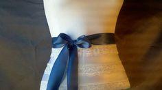 Marine blue satin ribbon sash bridal belt by DoIHearWeddingBells, $12.00