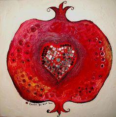 Heart in Pomegranate Pomegranate Art, Pomegranate Pictures, Jewish Celebrations, Christian Artwork, Guache, Jewish Art, Diy Ribbon, Fruit Art, Heart Art