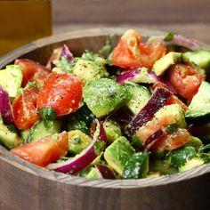 Cucumber, tomato, and avocado salad recipe by tasty salads овощные рецепты, Clean Eating Snacks, Healthy Snacks, Healthy Eating, Healthy Recipes, Vegetarian Recipes, Roasted Veggie Salad, Avocado Salad Recipes, Cucumber Salad, Strawberry Avocado Salad