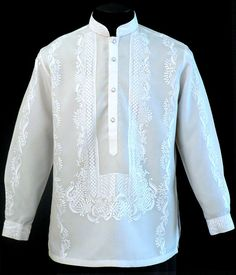 Barong, traditional Filipino wedding attire for men. Barong Wedding, Wedding Attire, Wedding Dresses, Barong Tagalog Wedding, Filipiniana Dress, Filipiniana Wedding, T-shirt Broderie, Filipino Wedding, Groom And Groomsmen Suits