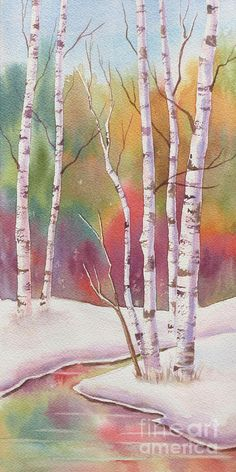 Autumn Snow Painting - Autumn Snow Fine Art Print