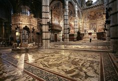My favorite duomo in Italy - the Siena Duomo. These incredible marble floors are shown only once a year for 6-10 weeks.