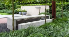 Concrete dining table and benches #outdoor
