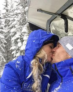Former Arsenal star Lukas Podolski was pictured kissing in the snow