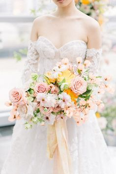 Seeing this citrus wedding inspo on a Columbus rooftop made our hearts pitter patter in the way only a modern romantic mood can. Freeform floral pillars, lucite chairs, ikebana arrangements, a bas relief cake - the only thing more breathtaking than these delicate details is the Galia Lahav gown with intricate embroidery from off-the-shoulder sleeves to sweeping train. Need we say more? Modern Floral Arrangements, Ikebana Arrangements, Romantic Weddings, Romantic Mood, Wedding Bouquets, Wedding Dresses, Wedding Vendors, Wedding Ideas, Ceremony Backdrop