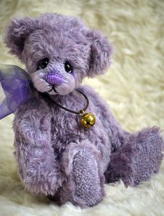Violet Mohair Bear - www.vickylougher.com #artistbear #artistbears #teddybear #teddy #handmade