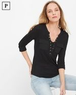 Petite Three-Quarter Sleeve Lace-Up Tee