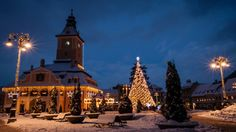 Winter scene in Brasov, Romania, January See it on Brasov Romania, City Architecture, Winter Scenes, January, Mansions, House Styles, Winter Snow, Photography, Fotografie