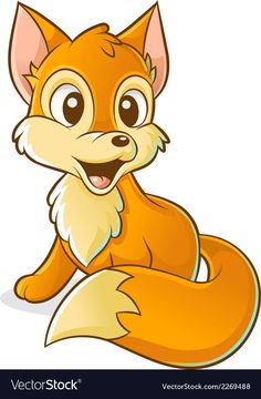Red young fox vector image on VectorStock Cute Animal Drawings Kawaii, Cute Little Drawings, Cute Cartoon Drawings, Art Drawings For Kids, Deer Cartoon, Cartoon Fish, Young Fox, Parrot Drawing, Baby Clip Art
