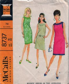 1960s McCalls 8737 Misses MOD Day and Evening Chemise Dress womens vintage sewing pattern by mbchills
