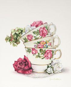 Today let's do tea art, Vintage Tee, Vintage Cards, Tee Kunst, Cup Art, Decoupage Paper, Vintage Pictures, Belle Photo, Tea Party, Tea Cups