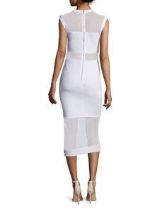 TBTJ7 Alice + Olivia Karman Sleeveless Mesh-Trim Midi Dress, White
