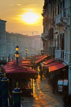 sunset over riva del vin, venice Italy Veneto