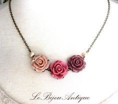 Flower Necklace Pink champagne Coffee Blush by LeBijouAntique