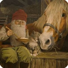 NORWAY... Nisse, eating his Gro/t (mush w/butter, sugar & cinnamon) the Horse and Cat in the Barn... where he spends lots of time. Then gives gifts...