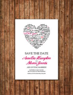 Heart save the date card for romantic wedding - pink and black. $13.00, via Etsy.