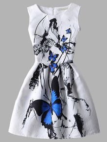 Vestido mariposa estampada vuelo jacquard - blanco