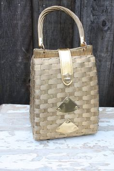 Vintage 1950's 60's Golden Woven Purse by pursuingandie on Etsy, $65.00