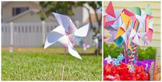 Pinwheel Party Favors for a an outdoor Birthday Party in Hawaii!