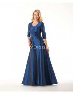 Winter blue taffeta A-line queen Anne with sash Mother of the Bride Dress
