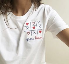 Embroidery - Tic tac toe x's & hearts. Embroidery On Clothes, Shirt Embroidery, Embroidered Clothes, Hand Embroidery Designs, Shirt Print Design, Tee Design, Shirt Designs, Broderie Simple, Kleidung Design