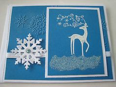 Stampin Up Card Christmas Card Reindeer and snowflakes