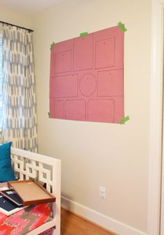 See how a frame gathering will look before hanging. Also easy to hang nails with the template on the wall.