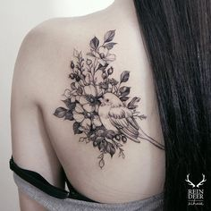 Love robin in flowers. Robin and flowers tattoo