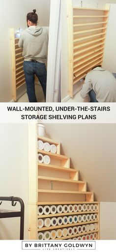See how I built these custom wall-mounted, under-the-stairs storage shelving for our storage closet. Time to get organized!