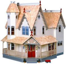 Majestic and proud, the Pierce dollhouse makes a statement. Always a top seller, this is one of our most sizable homes featuring six rooms and a tower chamber. The Pierce's ornate trim, twisting stair
