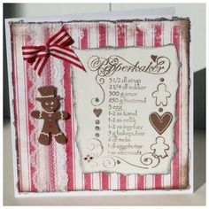 Ginger bread card with stamped receipe