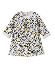 Robe bébé fille imprimée beige Coquille / blanc Multico (Petit Bateau)