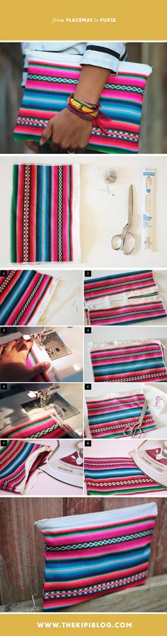 easy! how to turn a table placemat into a fashionable zippered clutch bag