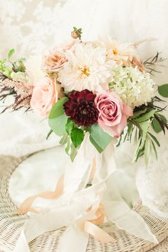 Blush and burgundy dahlia, rose and hydrangea wedding bouquet: http://www.stylemepretty.com/virginia-weddings/lexington-virginia/2015/12/04/giveaway-wedding-for-one-deserving-couple/ | Photography: Katelyn James - http://katelynjames.com/